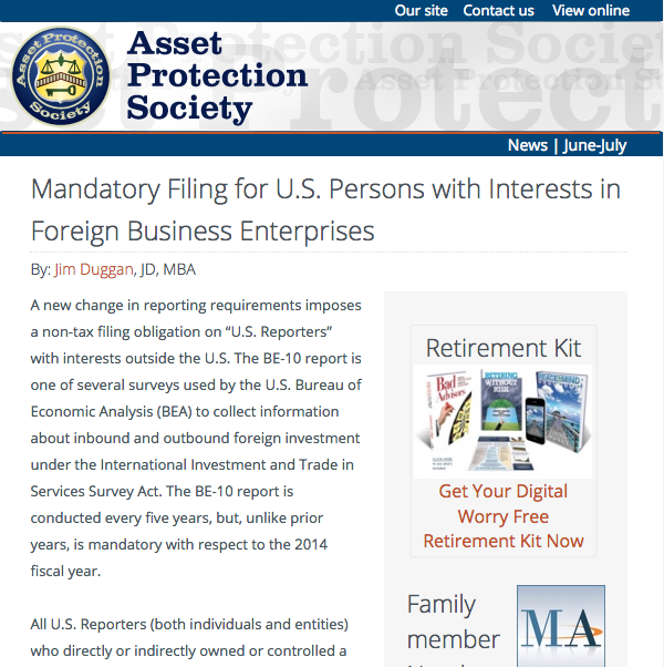 Sign Up & Receive The Latest <br>Asset Protection Society News